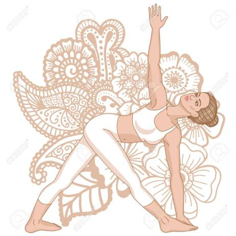 Women silhouette. Revolved Triangle Yoga Pose. Parivrtta Trikonasana